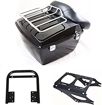 NEW Chopped Trunk Backrest Pad Mount Rack For Harley Tour Pak Touring 2009-2013
