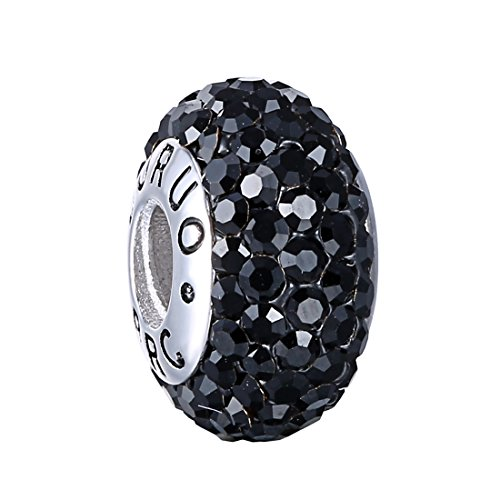 925 Sterling Silver Bead (Boruo 925 Sterling Silver Czech Crystal Black Glass Ball Charms Beads Spacers Threaded Core Charm Fit All Bracelets.)