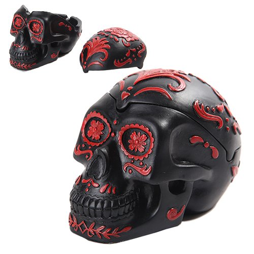 PTC Pacific Giftware Day of The Dead Themed Skull Hand Painted Resin Ashtray, Black