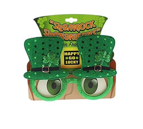 St Patricks Day Novelty Glasses - Accessories Party Supplies - Green (Green Pot O Gold Glasses)