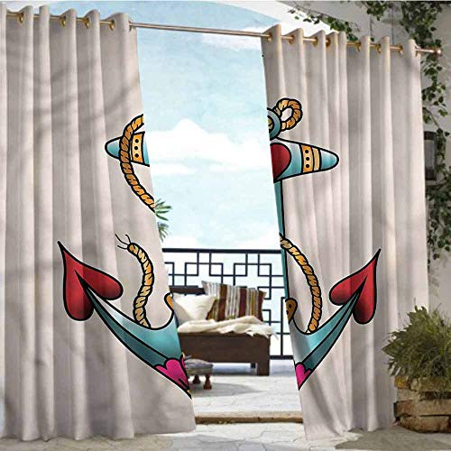 Balcony Curtains Anchor,Nautical Rope and Hearts,W84 xL96 Thermal Insulated Water Repellent Drape for Balcony