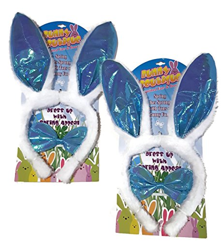 Set of 2 Plush Bunny Rabbit Ears Headband & Bowtie Easter Novelty (Spring Bunny Tie)