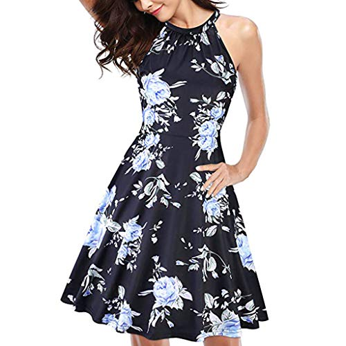 Caopixx Women's Halter Neck Floral Summer Dress Casual Sundress Hawaiian Beach Dress Black