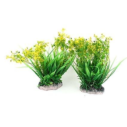 eDealMax Plástico acuario de agua de la hierba adornan el 19cm Alto 2 Pcs Amarillo Verde