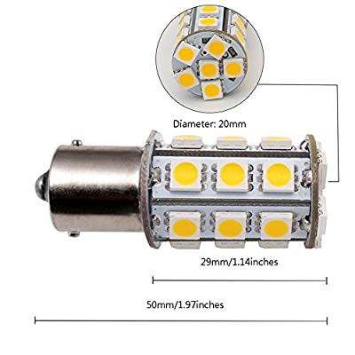 GRV Ba15s 1156 1141 High Power Car LED Bulb 24-5050SMD AC/DC 12V-24V Warm White Pack of 2: Automotive