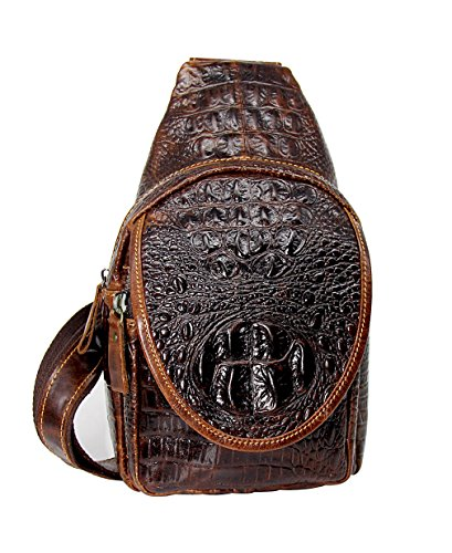 Nakelus Herren Echtledertasche Brusttasche Brustbeutel Schultertasche Reisetasche