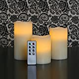 Flameless Wax Pillar Candles, Warm White Flickering LEDs, Set of 3, Remote & Batteries Included, Ivory Candle Set by LampLust