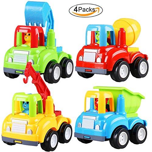 Naovio 4 PCS Funny Car Toy Set Excavator Mixer Truck and Crane Gift for Chrismas Halloween