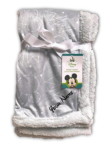 Baby Mickey Mouse Constellation and Stars Grey Luxury Mink Fleece Sherpa Blanket ()