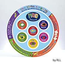 Rite Lite Printed Colorful Laminate Passover Seder Plate with Plastic Liners - 11 in.