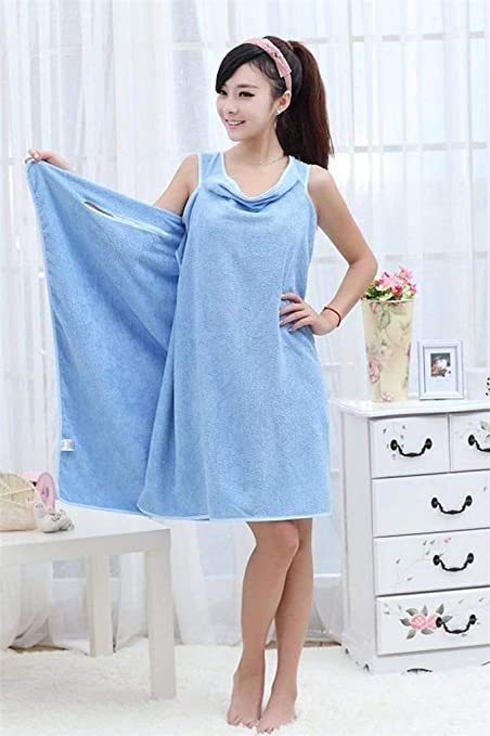 e0cfd7f8aa mr.caller New Womens Ladies Bathrobes Body Wrap Bath Towel For Sauna Spa  Shower Robe Bathrobe Absorbent Dressing Gown Skirt UK (Light Blue)   Amazon.co.uk  ...
