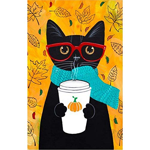 Black Cat Coffee Garden Flag 12.5 x 18inch Double Sided Outdoor Holidays Yard Flags (Flag Banner Yards)