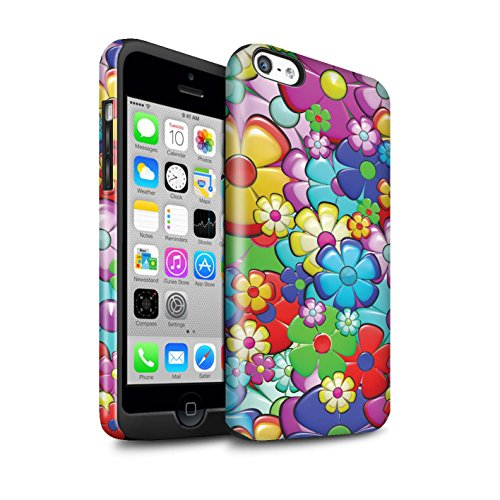 STUFF4 Gloss Tough Shock Proof Phone Case for Apple iPhone 5C/Vibrant Flower Power Design/Hippie Hipster Art Collection