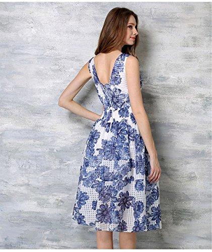 Doris Spring Dress Collar 01 Women's Summer Dress And V Sling Fashion Sleeveless Blue ZnP8q5rwZx