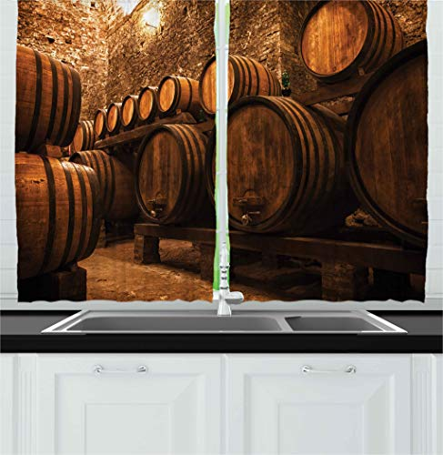 Ambesonne Winery Decor Collection, Barrels for Storage of Wine Italy Oak Container in Cold Dark Underground Cellar , Window Treatments for Kitchen Curtains 2 Panels, 55 X 39 Inches, Sienna Peru Brown