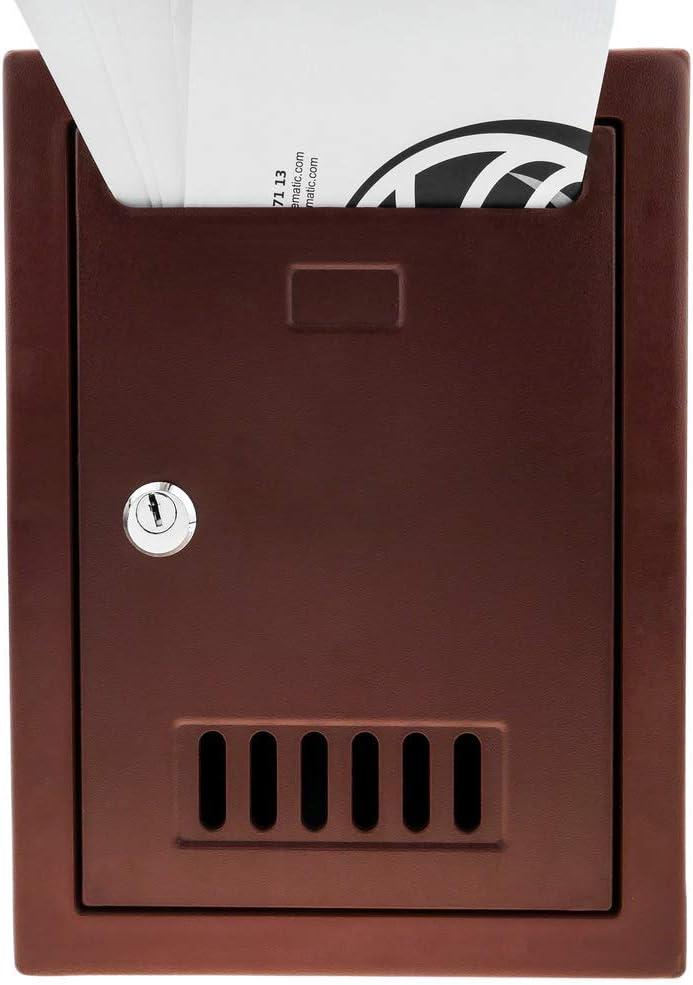 PrimeMatik Bo/îte aux Lettres en Plastique color/é Bordeaux pour Mur 205x80x273mm