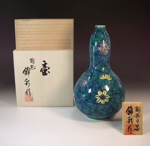 有田焼伊万里焼の陶器花瓶染錦鉄線|贈答品|ギフト|記念品|贈り物|陶芸家 藤井錦彩 B00JOV9X86