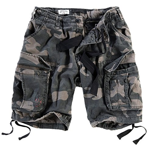 Surplus Men's Airborne Vintage Shorts Washed Black Camo Size 5XL