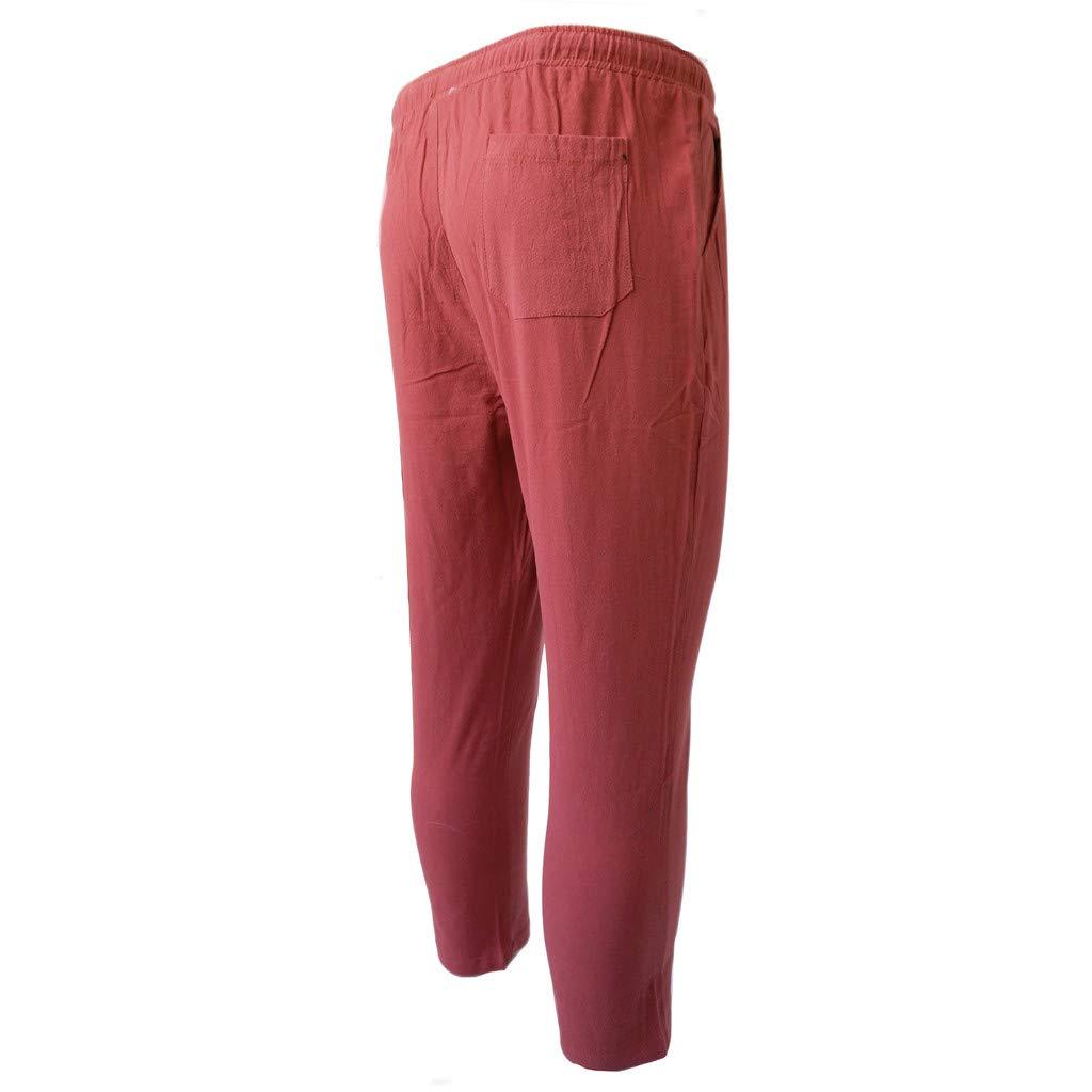 Men Plus Size Long Sweatpants Comfort Elastic Waist Drawstring Pockets Solid Pants Casual Fashion Trousers Daorokanduhp
