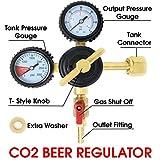 Co2 Beer Regulator Pressure Kegerator Heavy Duty Features T-Style Adjusting Handle - 0 to 60 PSI-0 to 3000 Tank Pressure