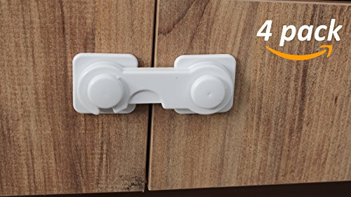Moreideas Baby Safety Locks, Child Proof Cabinet Lock Easy to Install No Drilling 3M Adhesive Childproof Latches for Cabinet Door Cupboard Cabinet Seat Drawer Fridge Oven Appliances - (Door Non Hand Corner Cabinet)