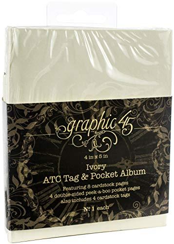 Graphic 45 ATC Rectangle Tag & Pocket Ivory Album