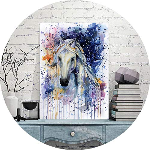 three thousand Wall Art Picture Canvas Oil Painting Animal Print for Living Room Home Decor The watercolored Running Horse No Frame,15x21cm no Frame