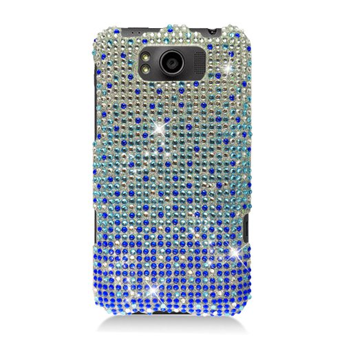 Eagle Cell PDHTCX310F381 RingBling Brilliant Diamond Case for HTC Titan/Eternity X310e - Retail Packaging - Blue ()