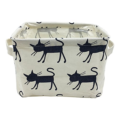 Small Foldable Canvas Storage Basket with Handles, Cotton Linen Storage Bin Organizer for Nursery Kids Shelves & Desks (Blue Cat)