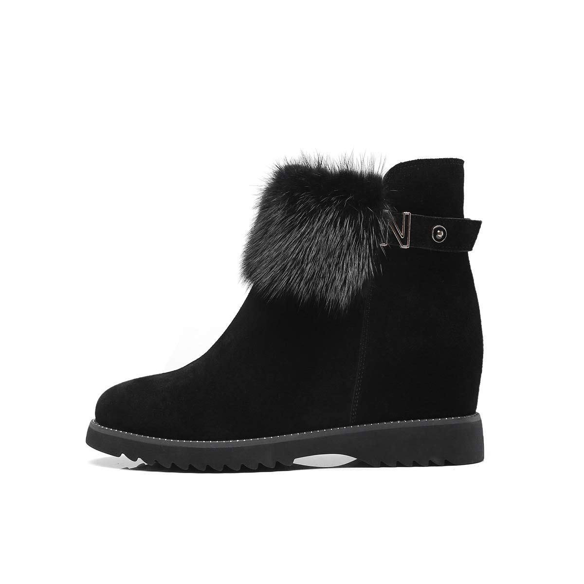 Black Women's Boots Autumn Winter Snow Boots Wedge Ankle Boots Round Head Invisible Heightening shoes Walking shoes (color   Black, Size   34)