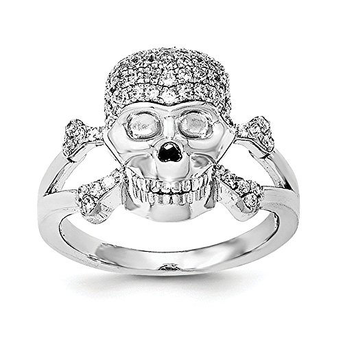 925 Sterling Silver Cubic Zirconia Cz Skull Band Ring Size 8.00 Fine Jewelry Gifts For Women For Her