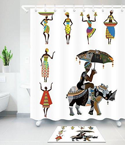 LB African Tribal Women in Traditional Costume Black Art Theme Bathroom Curtain Rug Set, 70x70 Bathroom Curtain Waterproof Mold Resistant, 15 x 23 Slip Proof Bathroom (Egyptian Cat God Costume)