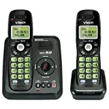 Vtech Dect 6.0 2-Handset Cordless Phone System with Digital Answering Machine and Green Backlit Keypad and Display (CS6124-21)