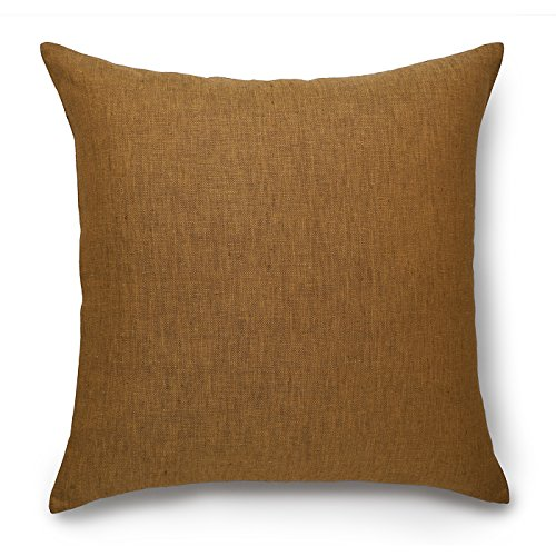 100% Pure Linen Pillow Cover Case Natura, Linen Decorative Square Cushion covers, Throw pillowcases, 20 x 20 Inch Caramel Cushion Cover Case by Solino Home