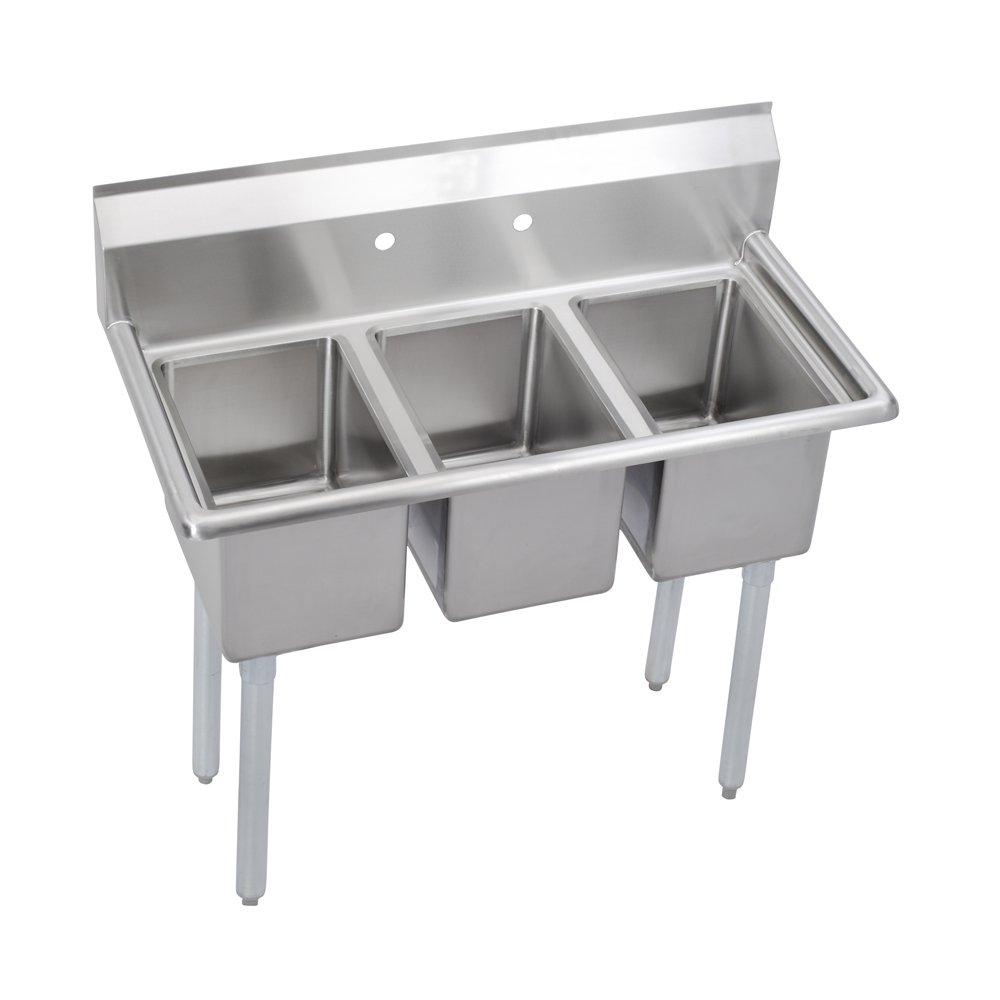 Elkay Foodservice 3 Compartment Sink, 39''X19.75'' OA, 36'' Working Height, 10X14 Bowl, 10 Deep, 10.75'' Backsplash, No Drainboards, 8'' On Center Faucet Hole, Galvinized Legs, Adjustable Feet, 16 Gauge 300 Series Stainless Steel, NSF Certified