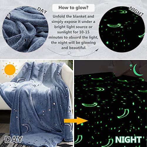 Glow in The Dark Throw Blanket, Moon and Stars Soft Warm Cozy Fuzzy Plush Blanket for Kids Teenage Boys Girls Women Best…