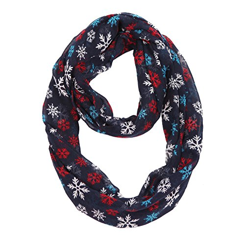 MissShorthair Christmas Infinity Scarf Lightweight Loop Holiday Gift Idea (Snowflake)