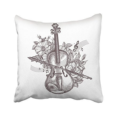 Emvency Decorative Throw Pillow Covers Cases Orchestra Vintage Fiddle Retro the Violin and Flowers Sketch Music Musician Sheet Roses Cello Drawn 20X20 Inches Pillowcases Case Cover Cushion Two Sided ()