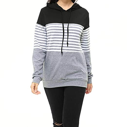 4fed855d689e6 Image Unavailable. Image not available for. Color: Womens Maternity Layered Nursing  Tops Striped Hooded Blouse Outwear Pregnant Pullover Breastfeeding ...