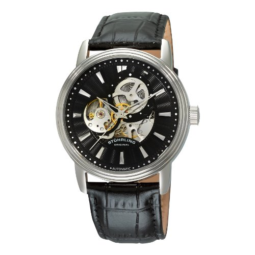 Stuhrling Original Men's 1076.33151 Classic Delphi Acheron Automatic Skeleton Black Leather Strap Watch