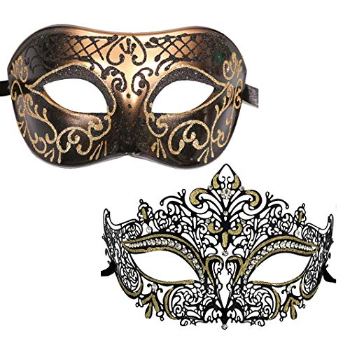 Xvevina Couples Pair Mardi Gras Venetian Masquerade Masks Set Party Costume Accessory (Black Gold 2 Pack)