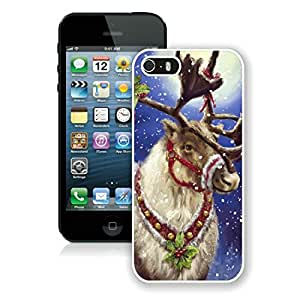 Custom-ized Iphone 5S Protective Cover Case Christmas Deer iPhone 5 5S TPU Case 10 White by Maris's Diary
