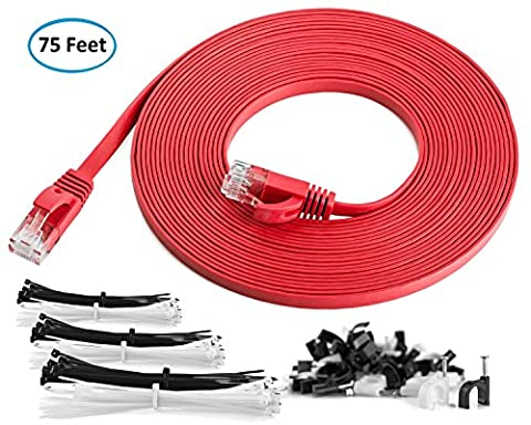Maximm Cat6 Flat Ethernet Cable - 75 Feet - Red - High Speed Internet Lan Cable with Snagless RJ45 Connectors For Fast Computer Networking + Cable Clips and - Cable Usb Rj 45 Connector