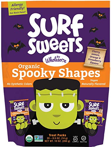 Surf Sweets Organic Fruit Snacks by Wholesome - Halloween Trick or Treat Candy Bags, 20-0.5 Ounce Pouches with Spooky Shapes in Cherry, Lemon, Orange and Strawberry Flavors - Gluten-Free, Non-GMO -