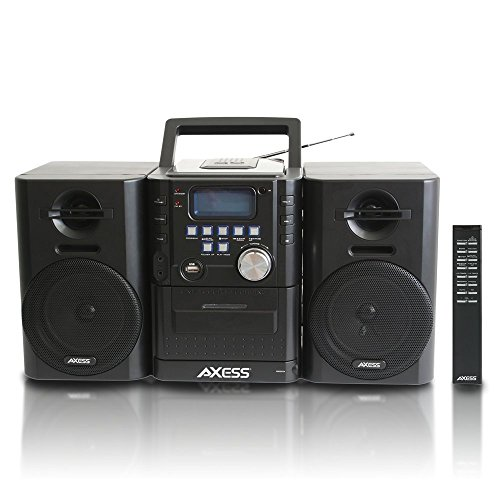 (AXESS MS3912 Mini Entertainment System with AM/FM, USB, CD, MP3 Player & Cassette Recorder With Headphone and Aux Jack)