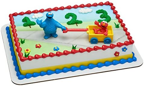 Outstanding Amazon Com Cookie Monster And Elmo Birthday Cake Kit Kitchen Funny Birthday Cards Online Elaedamsfinfo