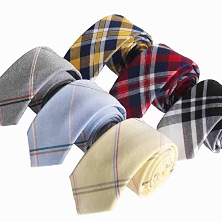 Hjyi Corbata de Vestir para Hombre, Corbata de algodón a Cuadros ...