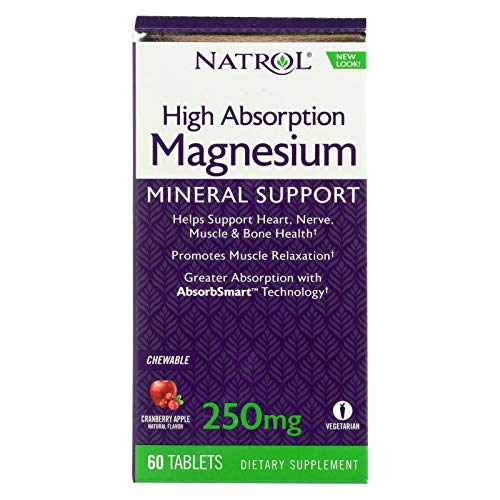 Natrol Magnesium - High Absorption - 60 Tablets - Yeast Free - Benefits Heart, Nerve and Muscle Health