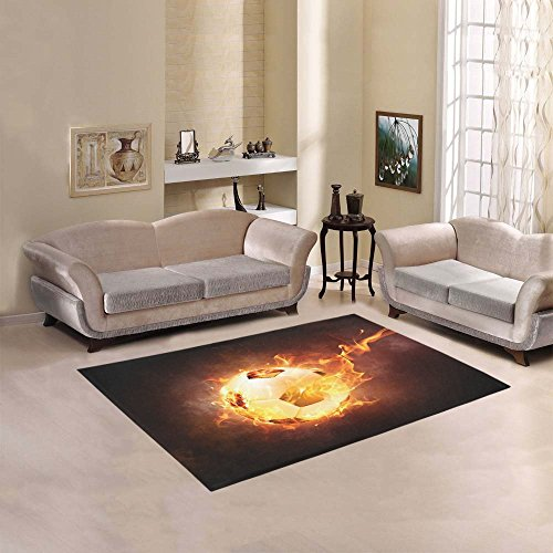fan products of JC-Dress Area Rug Cover Sport Football Soccer Ball under Fire Modern Carpet Cover 5'x3'3