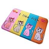 Livoty Cartoon Flesh Cute Cat 3D Printing Mats Bedroom Carpet Bathroom Mats Mats (G)